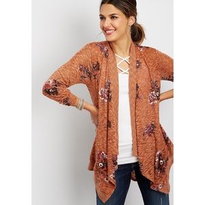 NWOT Maurice's floral open front cardigan